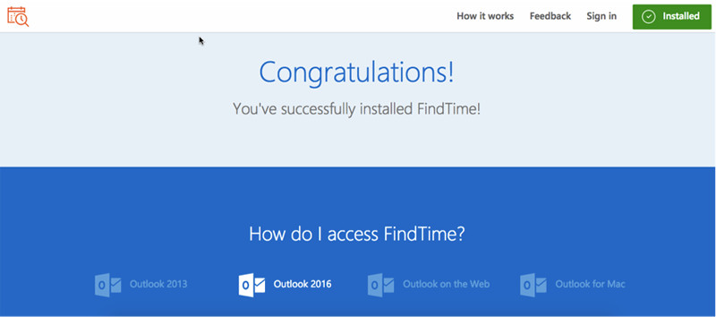 microsoft find time installation success find time